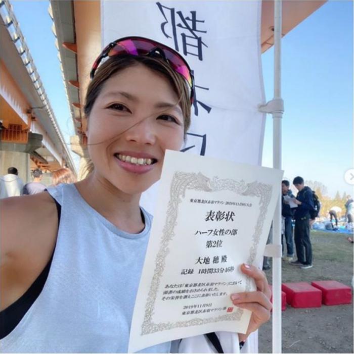 インタビューの直前には、東京都北区赤羽で開催されたハーフマラソン大会で準優勝も。